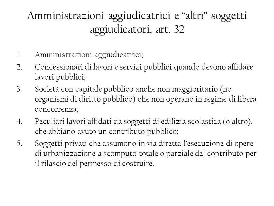 Amministrazioni aggiudicatrici e altri soggetti aggiudicatori, art. 32 1.Amministrazioni aggiudicatrici; 2.Concessionari di lavori e servizi pubblici