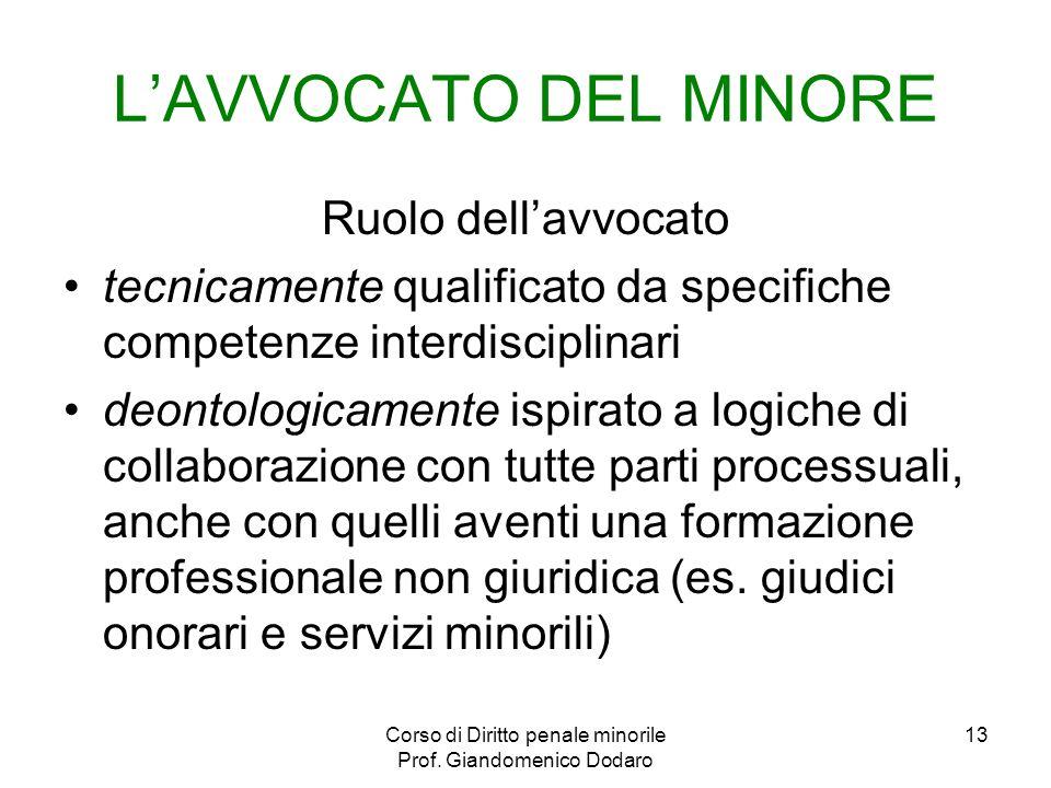 Corso di Diritto penale minorile Prof. Giandomenico Dodaro 13 LAVVOCATO DEL MINORE Ruolo dellavvocato tecnicamente qualificato da specifiche competenz