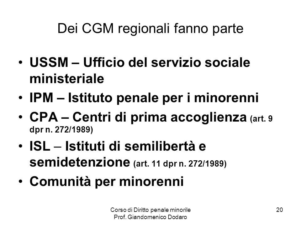 Corso di Diritto penale minorile Prof. Giandomenico Dodaro 20 Dei CGM regionali fanno parte USSM – Ufficio del servizio sociale ministeriale IPM – Ist