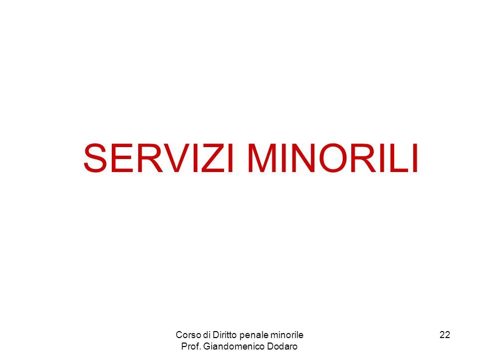 Corso di Diritto penale minorile Prof. Giandomenico Dodaro 22 SERVIZI MINORILI