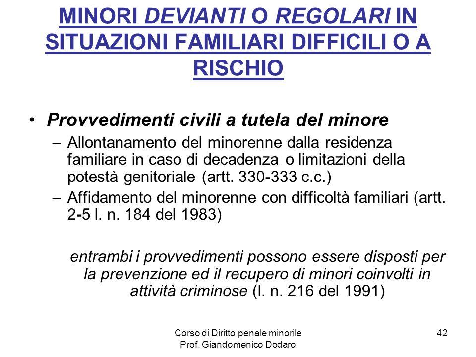 Corso di Diritto penale minorile Prof. Giandomenico Dodaro 42 MINORI DEVIANTI O REGOLARI IN SITUAZIONI FAMILIARI DIFFICILI O A RISCHIO Provvedimenti c