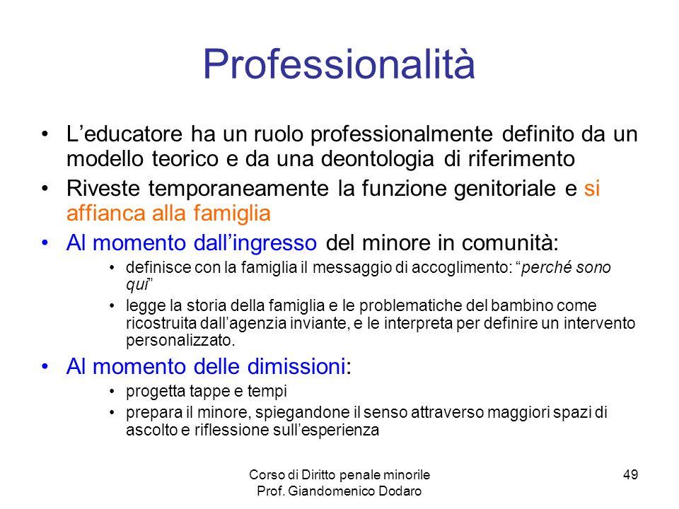 Corso di Diritto penale minorile Prof. Giandomenico Dodaro 49 Professionalità Leducatore ha un ruolo professionalmente definito da un modello teorico