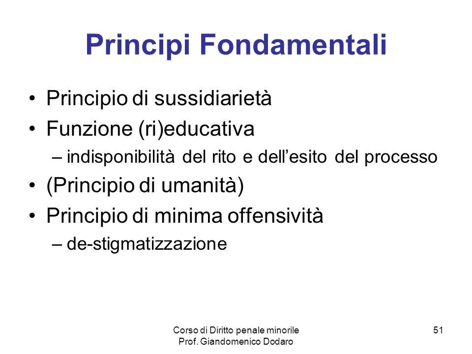 Corso di Diritto penale minorile Prof. Giandomenico Dodaro 51 Principi Fondamentali Principio di sussidiarietà Funzione (ri)educativa –indisponibilità