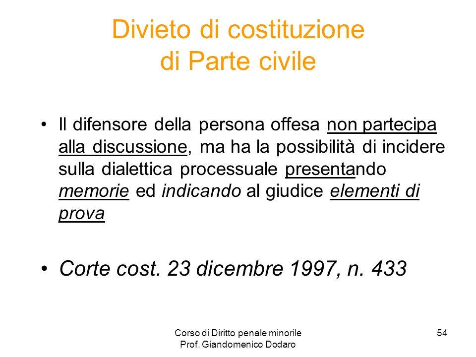 Corso di Diritto penale minorile Prof. Giandomenico Dodaro 54 Divieto di costituzione di Parte civile Il difensore della persona offesa non partecipa