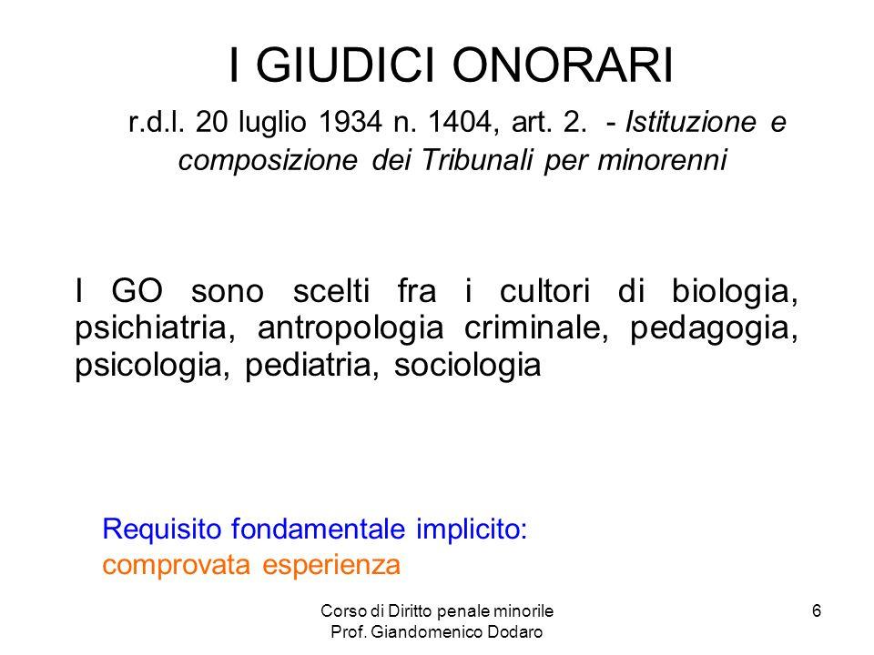 Corso di Diritto penale minorile Prof. Giandomenico Dodaro 6 I GIUDICI ONORARI r.d.l. 20 luglio 1934 n. 1404, art. 2. - Istituzione e composizione dei