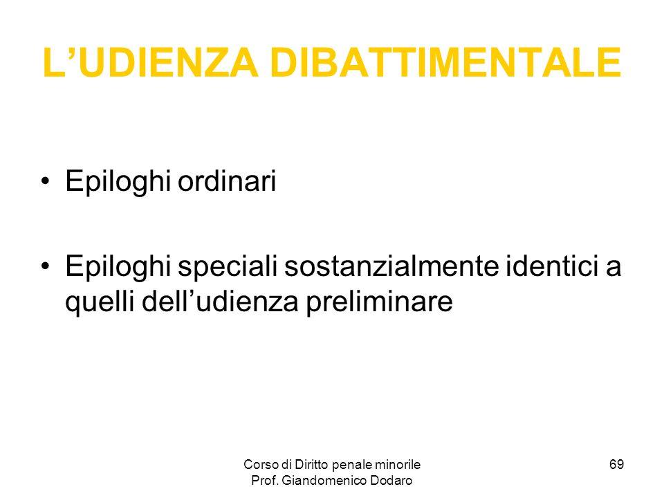 Corso di Diritto penale minorile Prof. Giandomenico Dodaro 69 LUDIENZA DIBATTIMENTALE Epiloghi ordinari Epiloghi speciali sostanzialmente identici a q