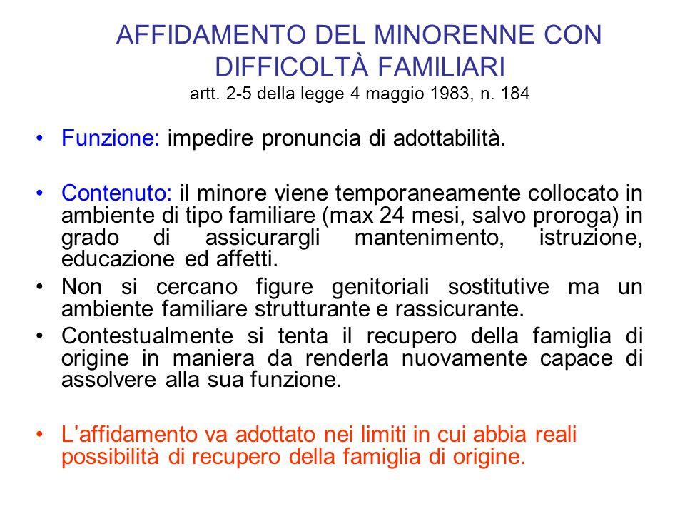 AFFIDAMENTO DEL MINORENNE CON DIFFICOLTÀ FAMILIARI artt. 2-5 della legge 4 maggio 1983, n. 184 Funzione: impedire pronuncia di adottabilità. Contenuto
