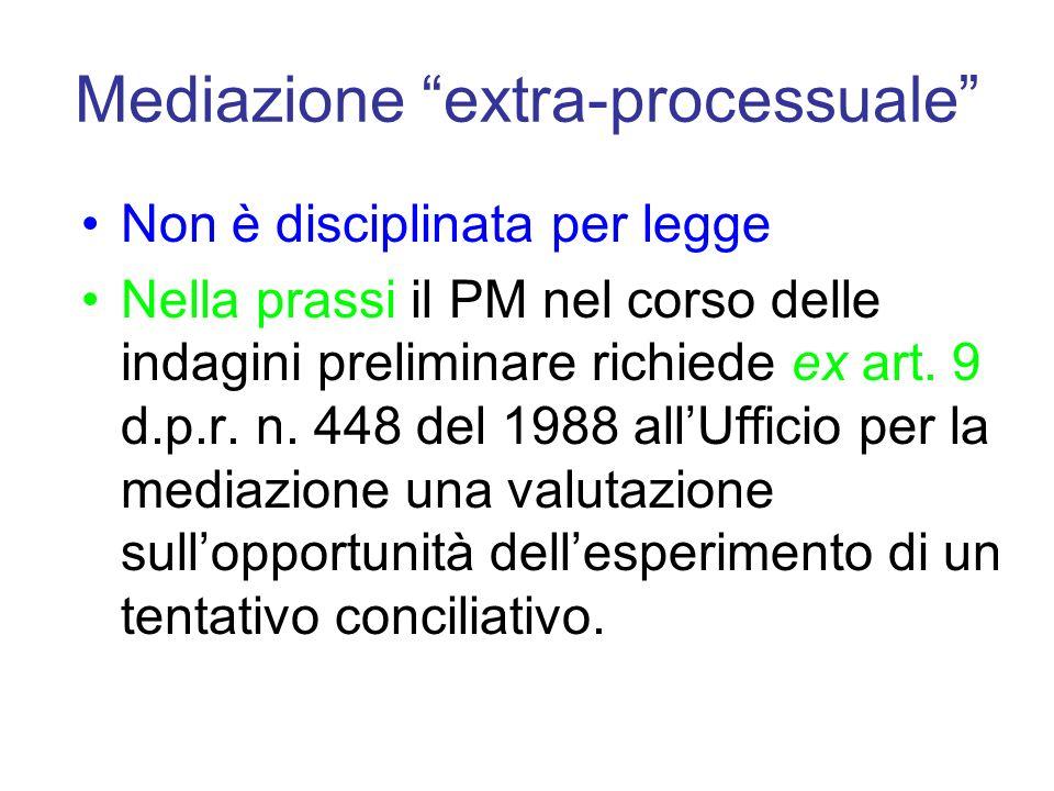 Mediazione extra-processuale Non è disciplinata per legge Nella prassi il PM nel corso delle indagini preliminare richiede ex art. 9 d.p.r. n. 448 del