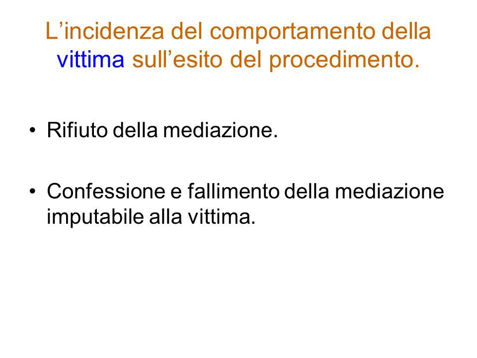 Lincidenza del comportamento della vittima sullesito del procedimento. Rifiuto della mediazione. Confessione e fallimento della mediazione imputabile