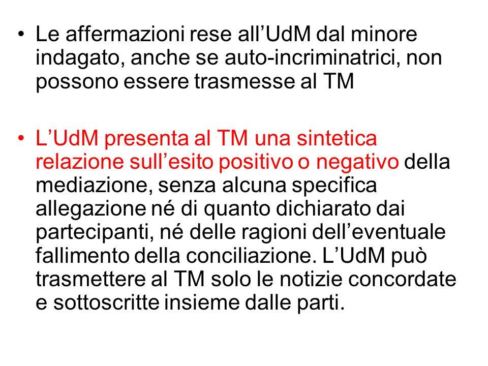 Le affermazioni rese allUdM dal minore indagato, anche se auto-incriminatrici, non possono essere trasmesse al TM LUdM presenta al TM una sintetica re
