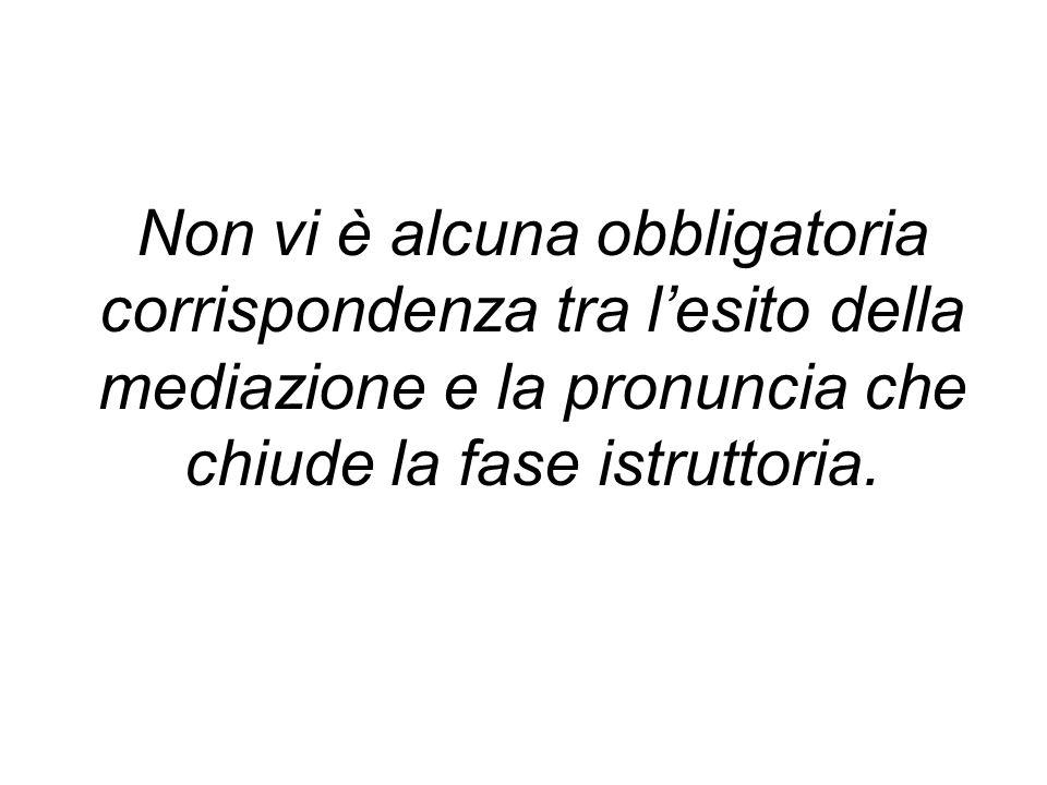 Non vi è alcuna obbligatoria corrispondenza tra lesito della mediazione e la pronuncia che chiude la fase istruttoria.