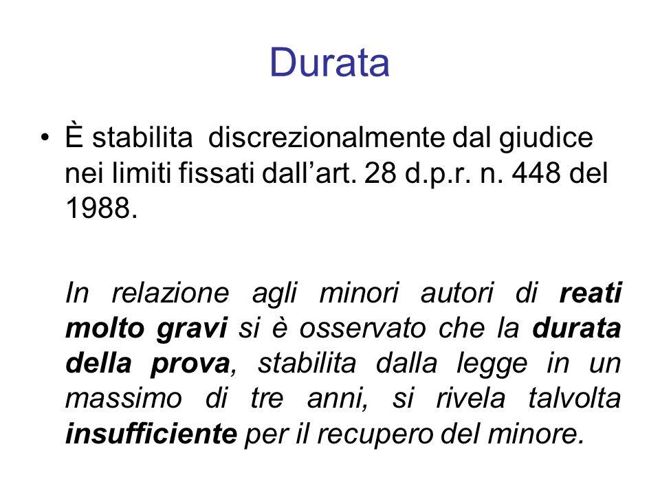Durata È stabilita discrezionalmente dal giudice nei limiti fissati dallart. 28 d.p.r. n. 448 del 1988. In relazione agli minori autori di reati molto