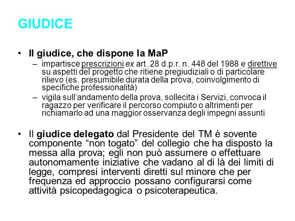 GIUDICE Il giudice, che dispone la MaP –impartisce prescrizioni ex art. 28 d.p.r. n. 448 del 1988 e direttive su aspetti del progetto che ritiene preg