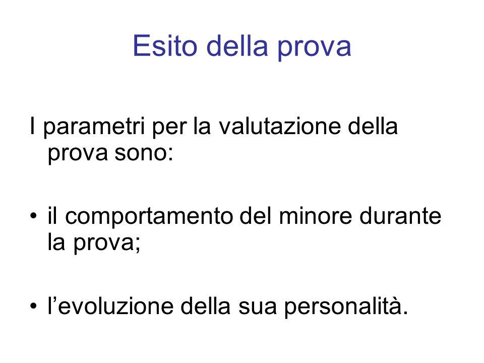 Esito della prova I parametri per la valutazione della prova sono: il comportamento del minore durante la prova; levoluzione della sua personalità.