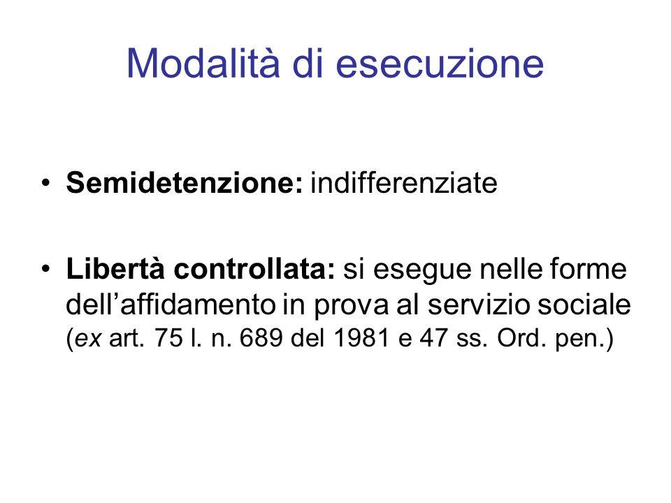 Modalità di esecuzione Semidetenzione: indifferenziate Libertà controllata: si esegue nelle forme dellaffidamento in prova al servizio sociale (ex art