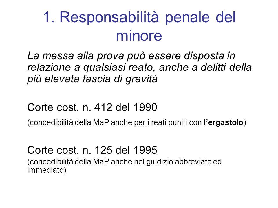 1. Responsabilità penale del minore La messa alla prova può essere disposta in relazione a qualsiasi reato, anche a delitti della più elevata fascia d