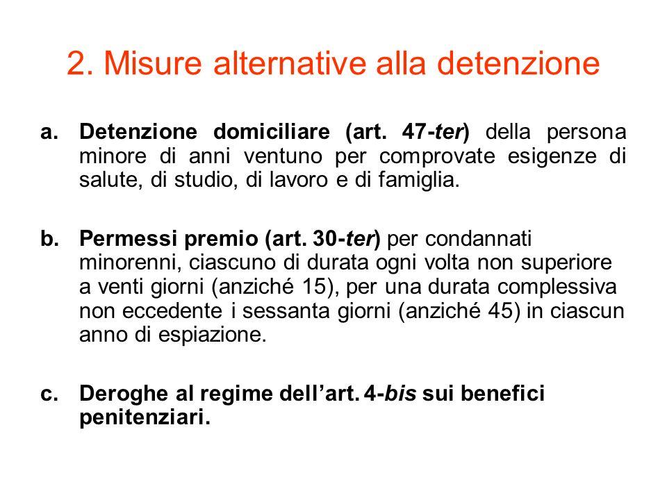 2. Misure alternative alla detenzione a.Detenzione domiciliare (art. 47-ter) della persona minore di anni ventuno per comprovate esigenze di salute, d