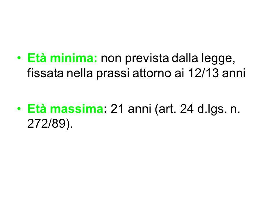 Età minima: non prevista dalla legge, fissata nella prassi attorno ai 12/13 anni Età massima: 21 anni (art. 24 d.lgs. n. 272/89).