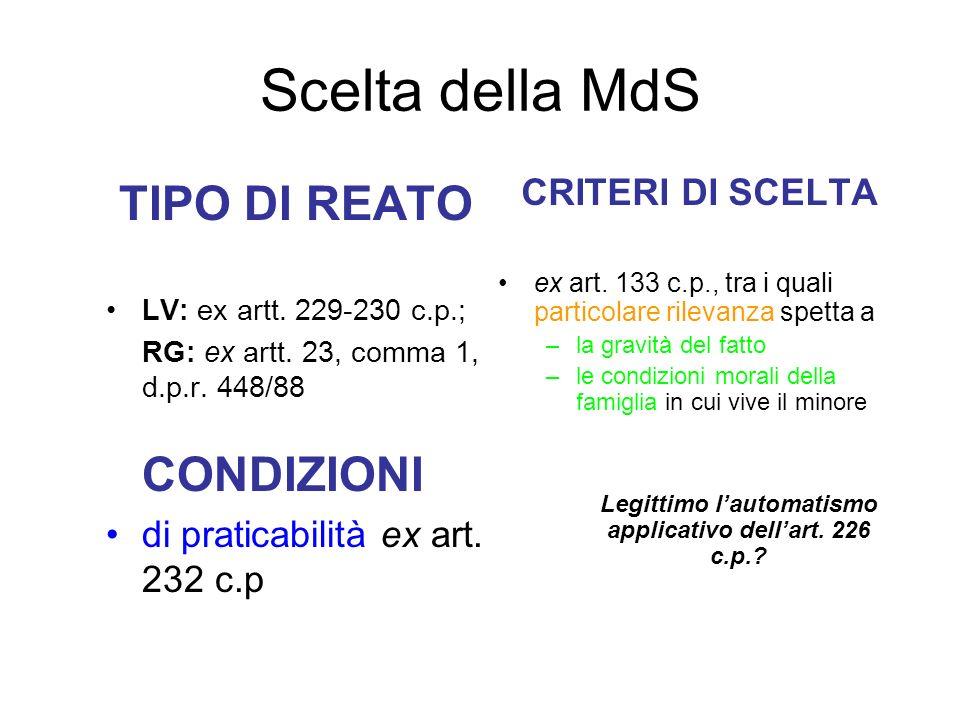 Scelta della MdS TIPO DI REATO LV: ex artt. 229-230 c.p.; RG: ex artt. 23, comma 1, d.p.r. 448/88 CONDIZIONI di praticabilità ex art. 232 c.p CRITERI