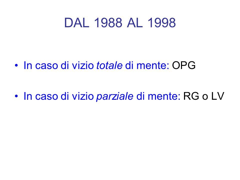 DAL 1988 AL 1998 In caso di vizio totale di mente: OPG In caso di vizio parziale di mente: RG o LV
