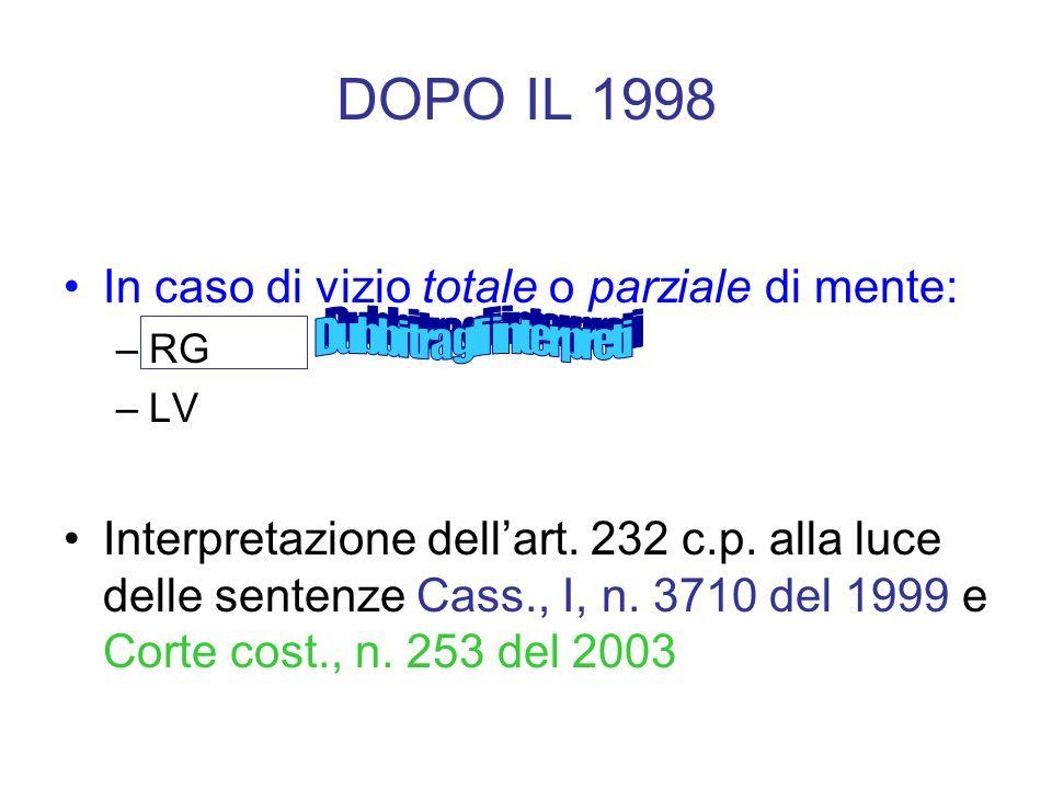 DOPO IL 1998 In caso di vizio totale o parziale di mente: –RG –LV Interpretazione dellart. 232 c.p. alla luce delle sentenze Cass., I, n. 3710 del 199