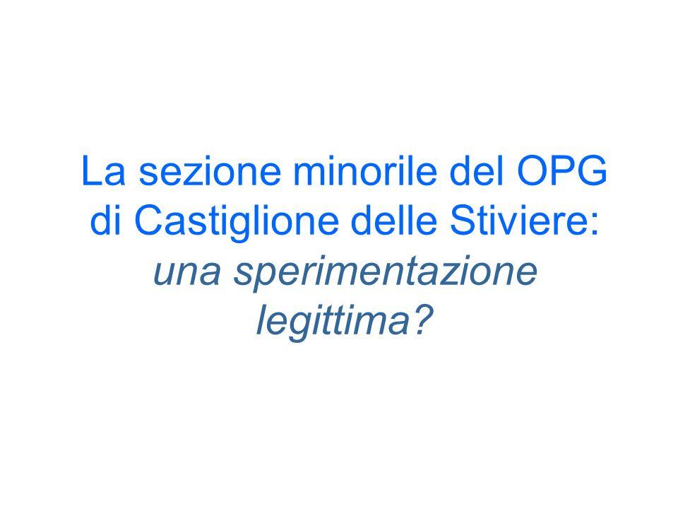 La sezione minorile del OPG di Castiglione delle Stiviere: una sperimentazione legittima?