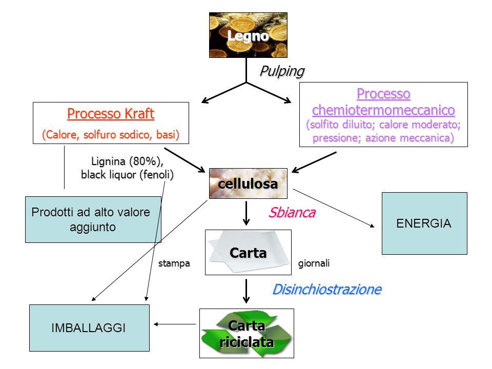 Legno Processo Kraft (Calore, solfuro sodico, basi) Processo chemiotermomeccanico (solfito diluito; calore moderato; pressione; azione meccanica) Pulp