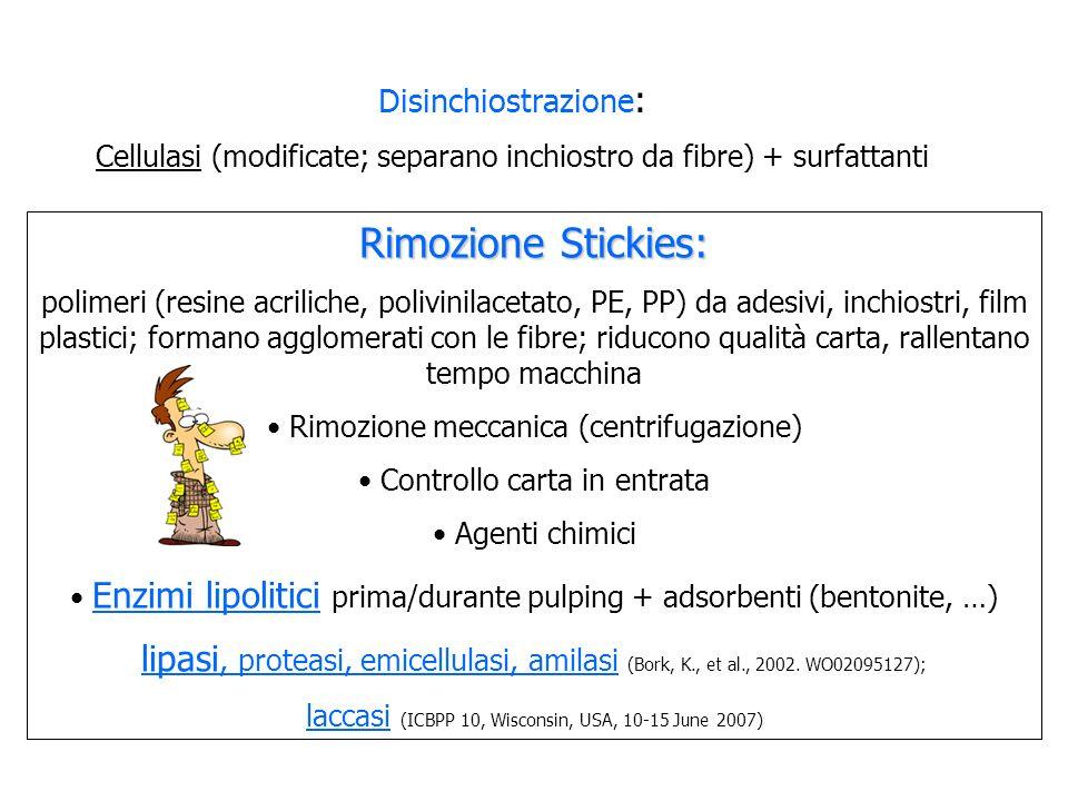 Rimozione Stickies: polimeri (resine acriliche, polivinilacetato, PE, PP) da adesivi, inchiostri, film plastici; formano agglomerati con le fibre; rid