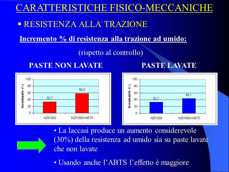 CARATTERISTICHE FISICO-MECCANICHE Incremento % di resistenza alla trazione ad umido: (rispetto al controllo) RESISTENZA ALLA TRAZIONE PASTE NON LAVATEPASTE LAVATE La laccasi produce un aumento considerevole (30%) della resistenza ad umido sia su paste lavate che non lavate Usando anche lABTS leffetto è maggiore