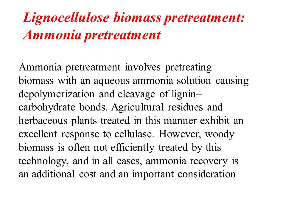 Lignocellulose biomass pretreatment: Ammonia pretreatment Ammonia pretreatment involves pretreating biomass with an aqueous ammonia solution causing d