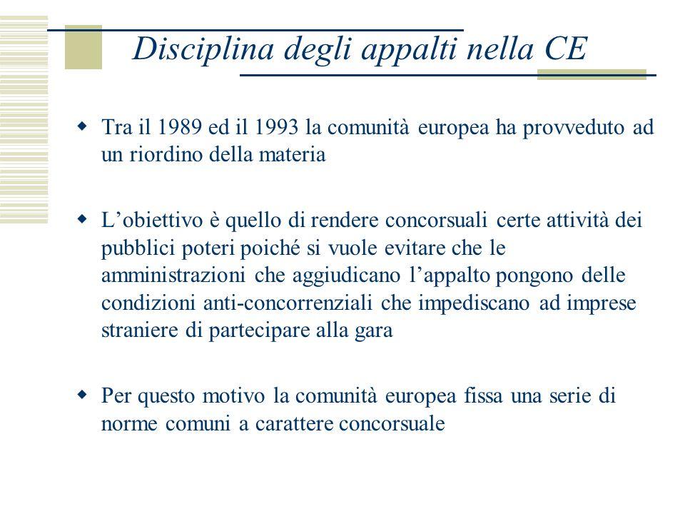 Tra il 1989 ed il 1993 la comunità europea ha provveduto ad un riordino della materia Lobiettivo è quello di rendere concorsuali certe attività dei pubblici poteri poiché si vuole evitare che le amministrazioni che aggiudicano lappalto pongono delle condizioni anti-concorrenziali che impediscano ad imprese straniere di partecipare alla gara Per questo motivo la comunità europea fissa una serie di norme comuni a carattere concorsuale Disciplina degli appalti nella CE