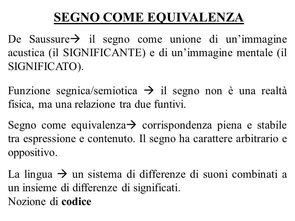 SEGNO COME EQUIVALENZA De Saussure il segno come unione di unimmagine acustica (il SIGNIFICANTE) e di unimmagine mentale (il SIGNIFICATO). Funzione se