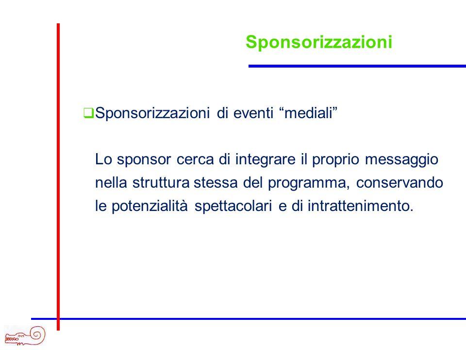 Sponsorizzazioni Sponsorizzazioni di eventi mediali Lo sponsor cerca di integrare il proprio messaggio nella struttura stessa del programma, conservan