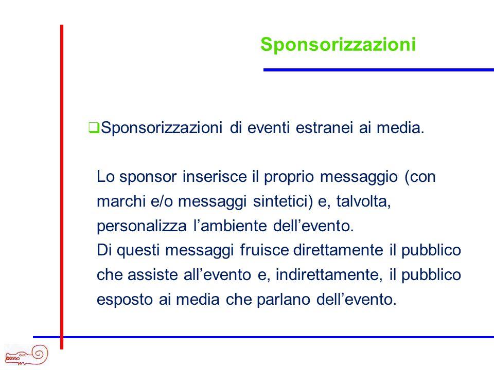 Sponsorizzazioni Sponsorizzazioni di eventi estranei ai media. Lo sponsor inserisce il proprio messaggio (con marchi e/o messaggi sintetici) e, talvol