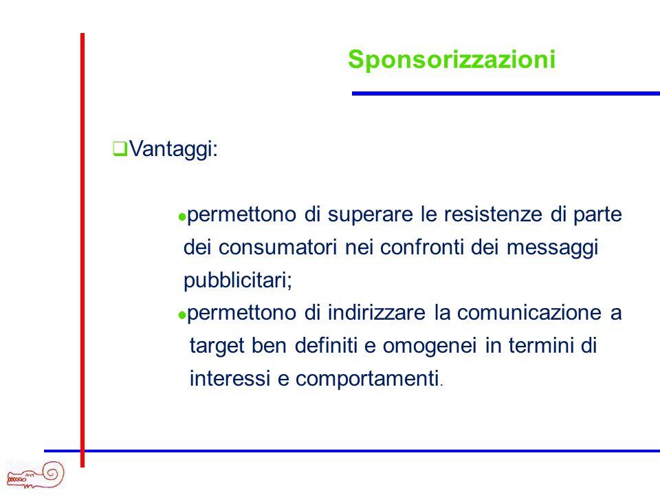 Sponsorizzazioni Vantaggi: permettono di superare le resistenze di parte dei consumatori nei confronti dei messaggi pubblicitari; permettono di indiri