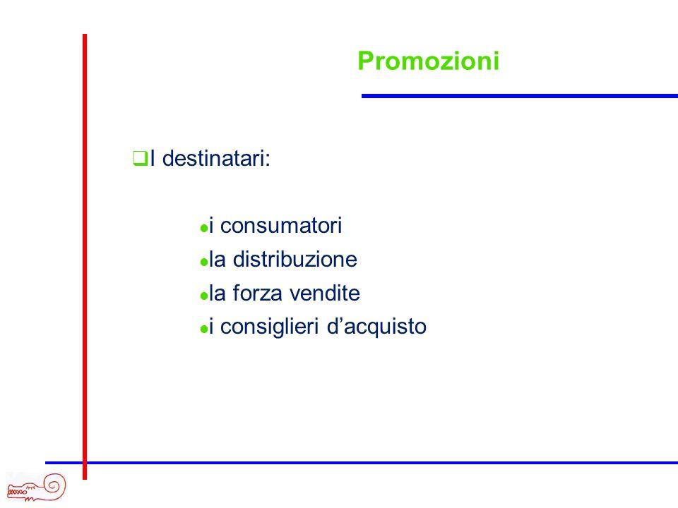 Promozioni I destinatari: i consumatori la distribuzione la forza vendite i consiglieri dacquisto