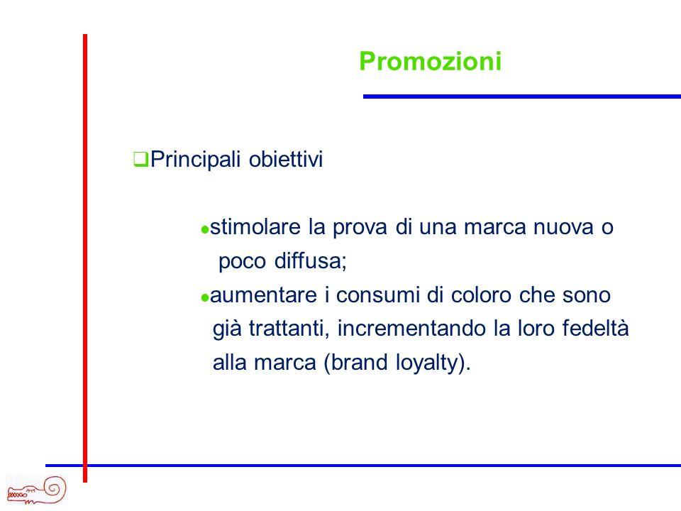 Promozioni Principali obiettivi stimolare la prova di una marca nuova o poco diffusa; aumentare i consumi di coloro che sono già trattanti, incrementa
