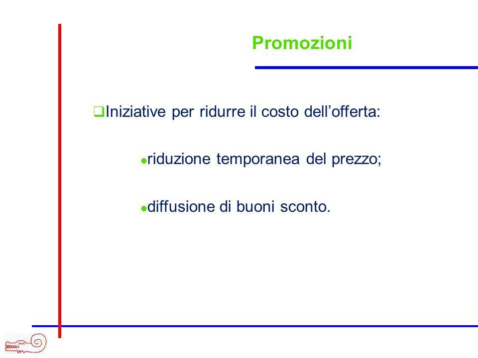 Promozioni Iniziative per ridurre il costo dellofferta: riduzione temporanea del prezzo; diffusione di buoni sconto.