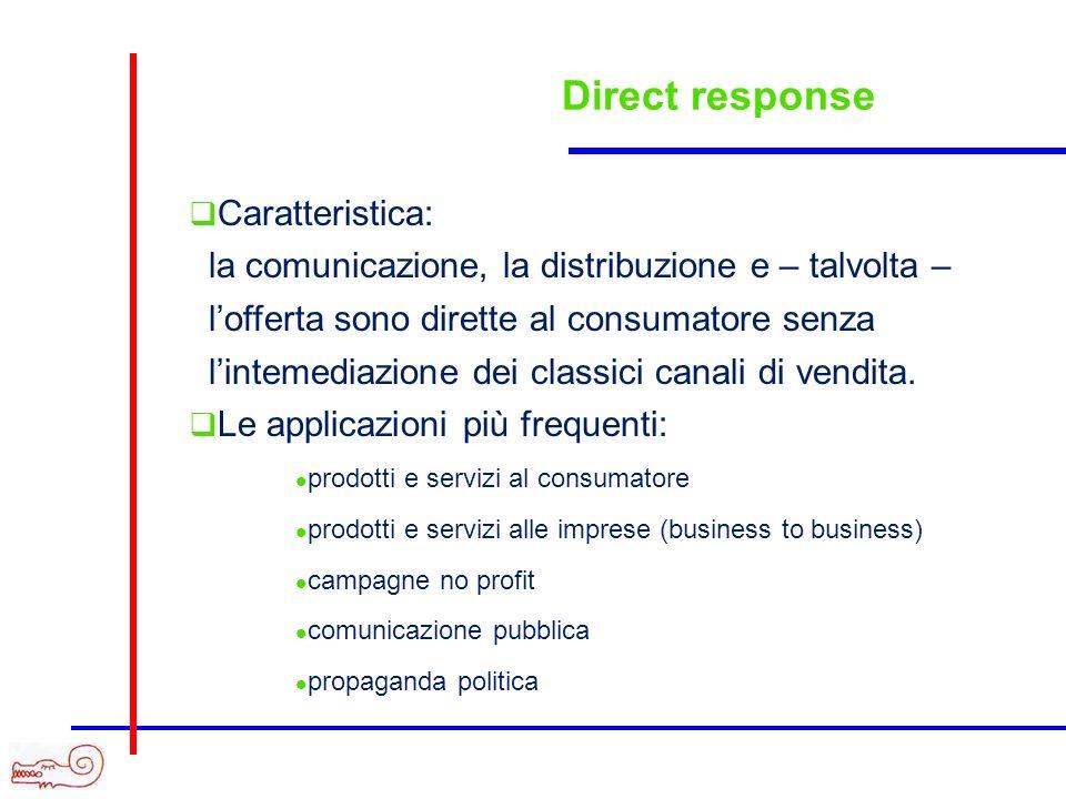 Direct response Caratteristica: la comunicazione, la distribuzione e – talvolta – lofferta sono dirette al consumatore senza lintemediazione dei class