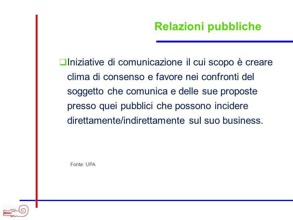 Relazioni pubbliche Iniziative di comunicazione il cui scopo è creare clima di consenso e favore nei confronti del soggetto che comunica e delle sue p