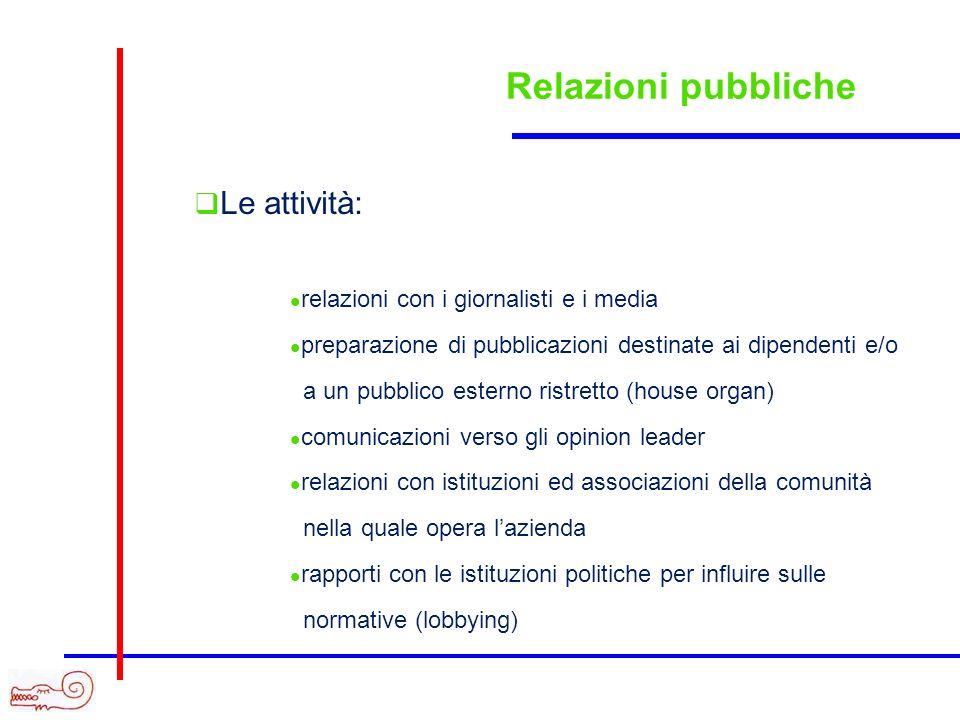 Relazioni pubbliche Le attività: relazioni con i giornalisti e i media preparazione di pubblicazioni destinate ai dipendenti e/o a un pubblico esterno