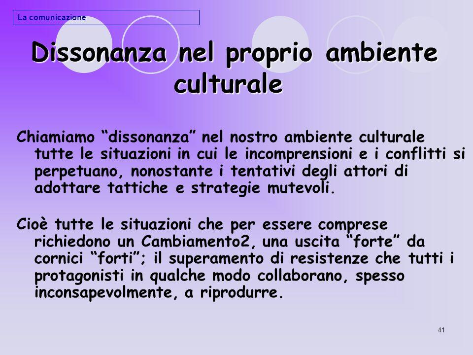 41 Dissonanza nel proprio ambiente culturale Dissonanza nel proprio ambiente culturale Chiamiamo dissonanza nel nostro ambiente culturale tutte le sit