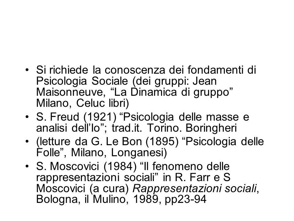 Si richiede la conoscenza dei fondamenti di Psicologia Sociale (dei gruppi: Jean Maisonneuve, La Dinamica di gruppo Milano, Celuc libri) S. Freud (192