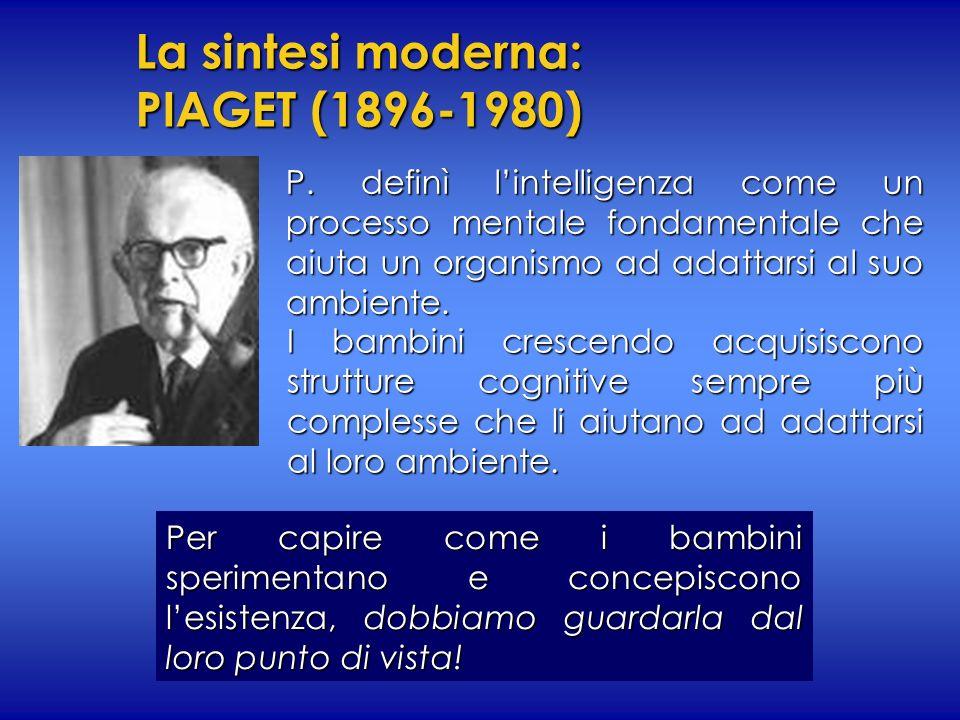 La sintesi moderna: PIAGET (1896-1980) P. definì lintelligenza come un processo mentale fondamentale che aiuta un organismo ad adattarsi al suo ambien