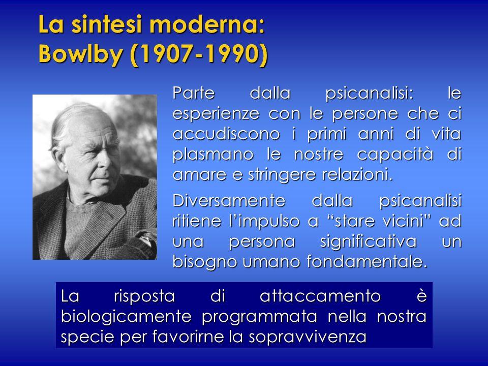 La sintesi moderna: Bowlby (1907-1990) Parte dalla psicanalisi: le esperienze con le persone che ci accudiscono i primi anni di vita plasmano le nostr