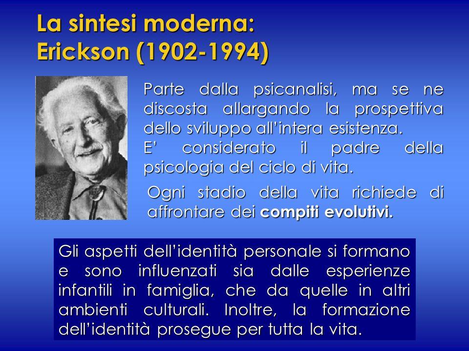 La sintesi moderna: Erickson (1902-1994) Parte dalla psicanalisi, ma se ne discosta allargando la prospettiva dello sviluppo allintera esistenza. E co