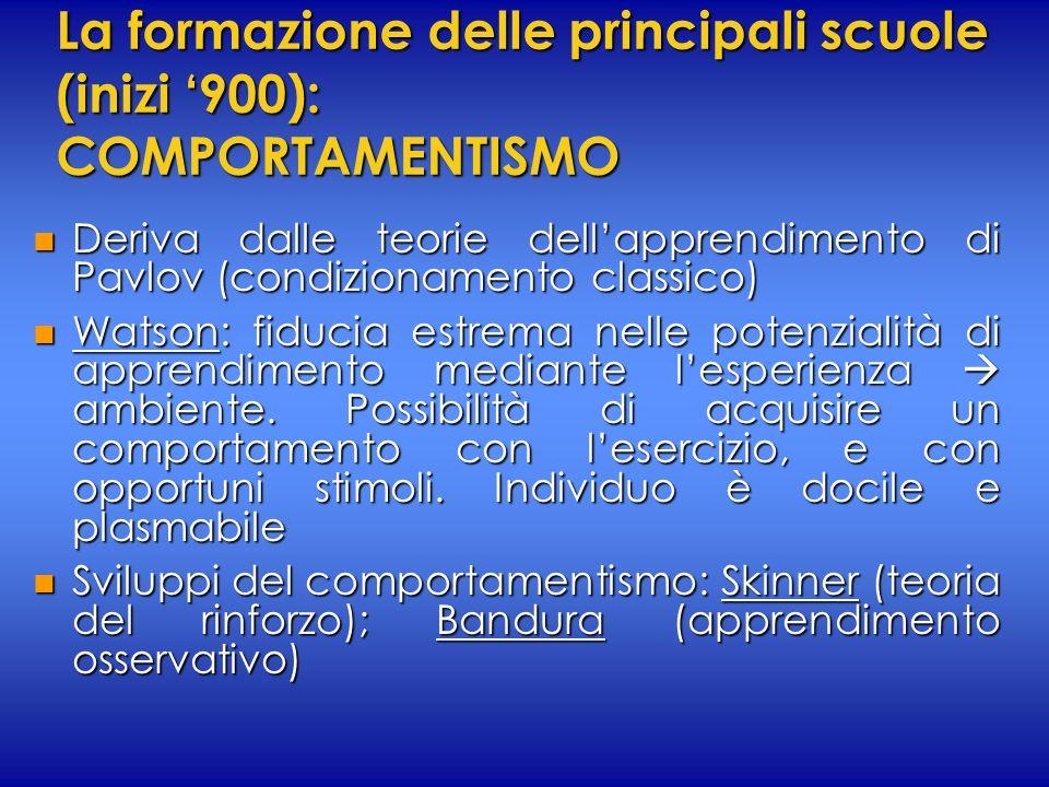 La formazione delle principali scuole (inizi 900): COMPORTAMENTISMO n Deriva dalle teorie dellapprendimento di Pavlov (condizionamento classico) n Wat