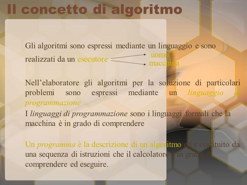 Gli algoritmi sono espressi mediante un linguaggio e sono realizzati da un esecutore Nellelaboratore gli algoritmi per la soluzione di particolari problemi sono espressi mediante un linguaggio di programmazione I linguaggi di programmazione sono i linguaggi formali che la macchina è in grado di comprendere Un programma è la descrizione di un algoritmo ed è costituito da una sequenza di istruzioni che il calcolatore è in grado di comprendere ed eseguire.