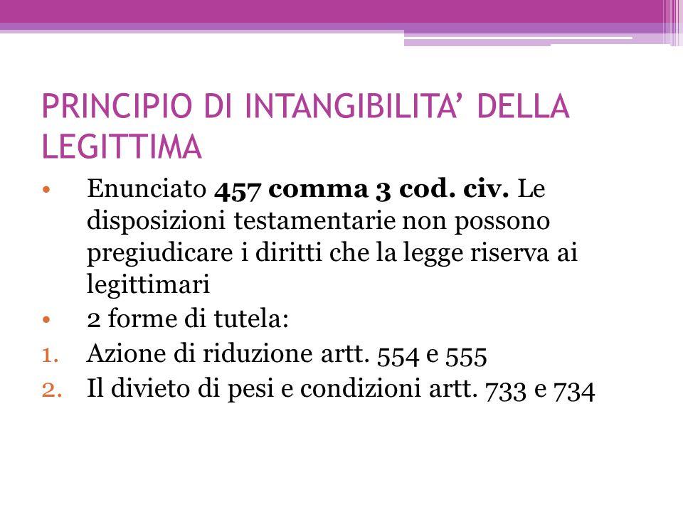PRINCIPIO DI INTANGIBILITA DELLA LEGITTIMA Enunciato 457 comma 3 cod. civ. Le disposizioni testamentarie non possono pregiudicare i diritti che la leg