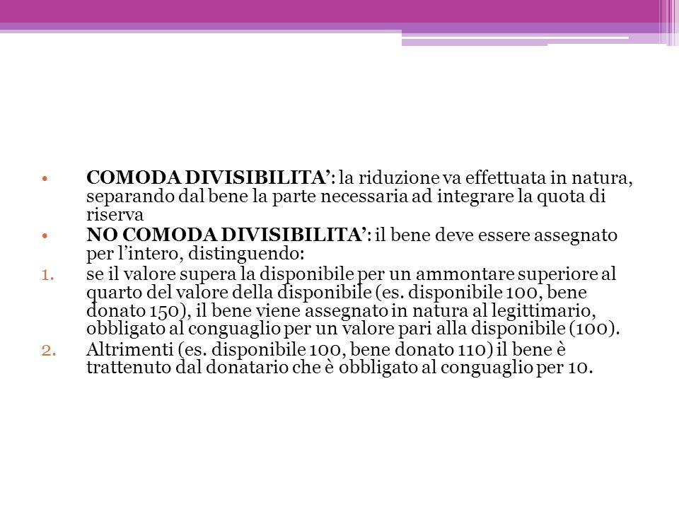 COMODA DIVISIBILITA: la riduzione va effettuata in natura, separando dal bene la parte necessaria ad integrare la quota di riserva NO COMODA DIVISIBIL